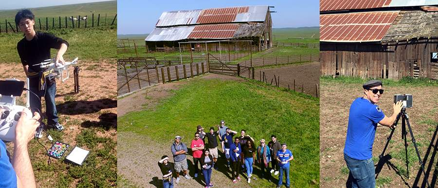 UC Merced World Heritage montage with drones documenting the the UC's Red Barn