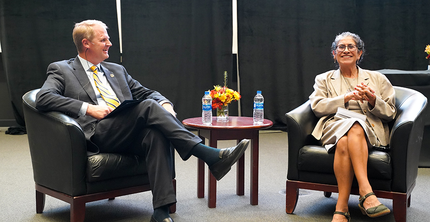 Interim Chancellor Nathan Brostom welcomes Maria Echaveste to UC Merced for a conversation on