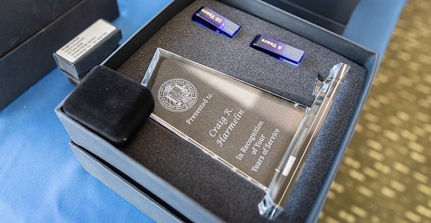 Employees that reached a service milestone were presented with this crystal award at the annual Celebrating Service breakfast this week.