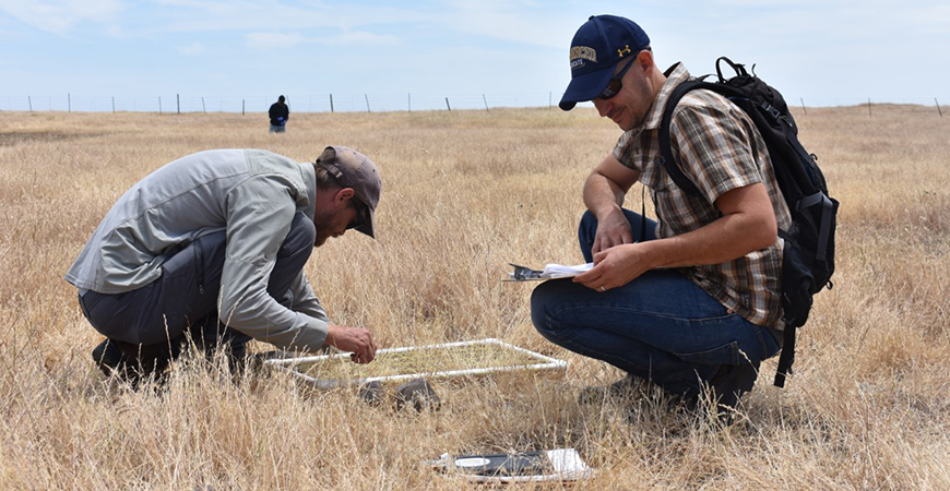 Professor Jason Sexton, right, works in the field with a graduate student.